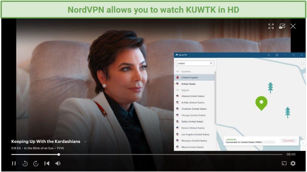 screenshot of Hulu player streaming Keeping Up With the Kardashians and NordVPN UI