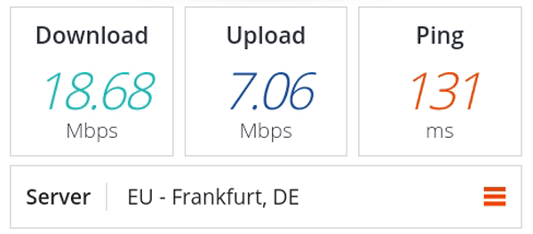 Speed test for Denmark VPN server.