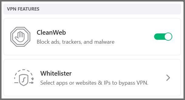 Screenshot of Surfshark's CleanWeb and Whitelister features.