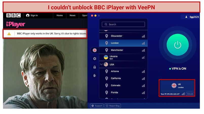 screenshot of BBC iPlayer error message and VeePN UI
