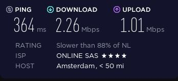 Speed test on a BroVPN server in Amsterdam.