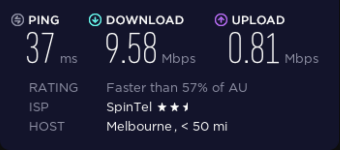 Speed test performed on a casvpn server in Australia.