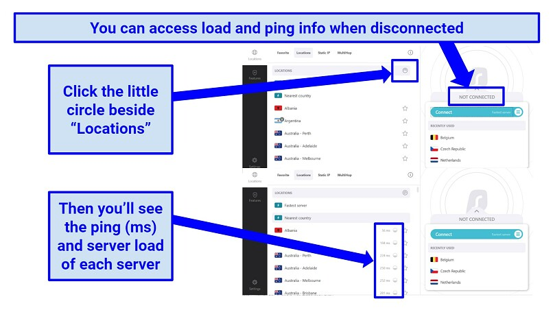 Screenshot showing how to view server load and ping time of servers on Surfshark