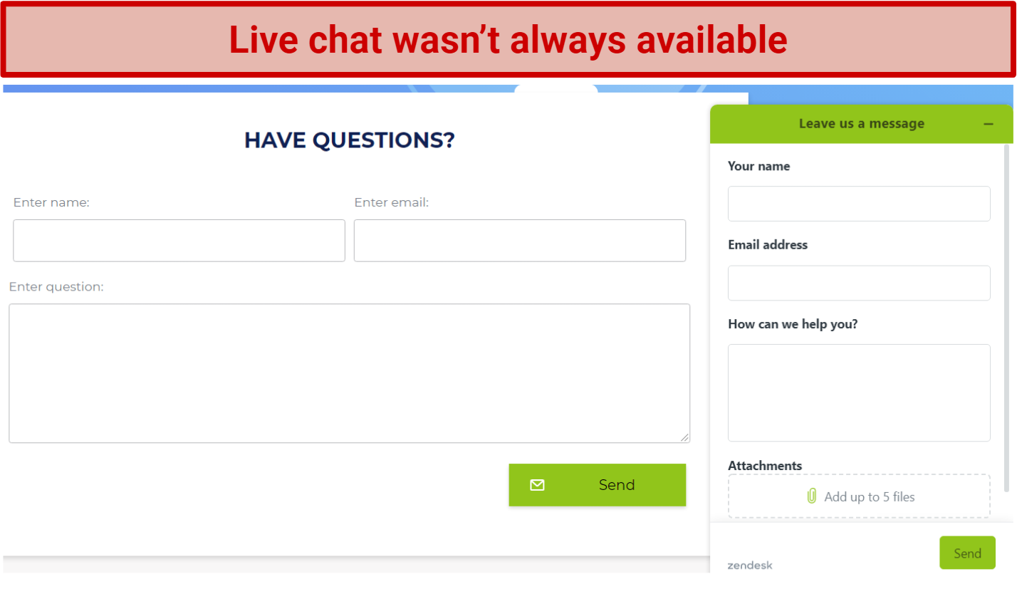 Screenshot showing live chat unavailable at times