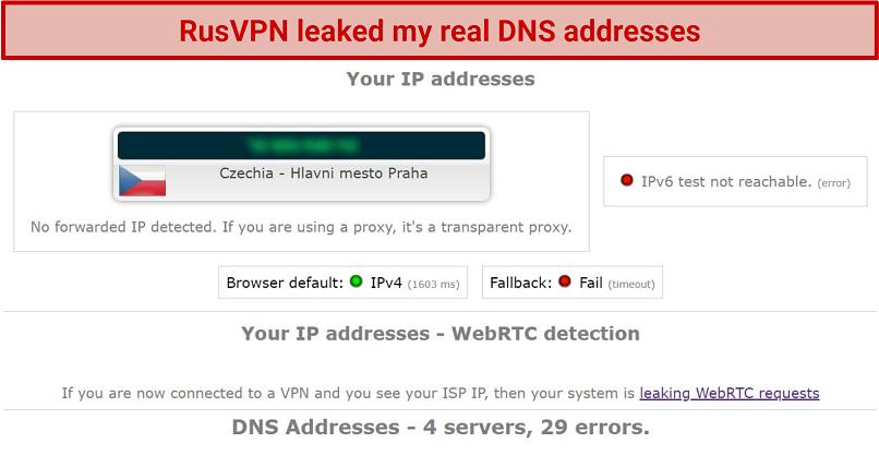 Screenshot showing RusVPN failing the leak test