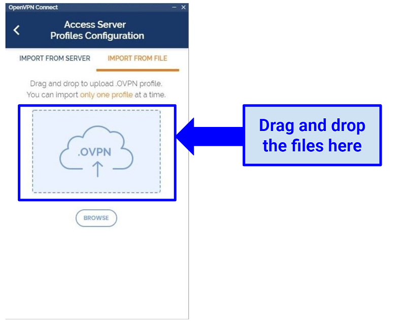 Screenshot showing where to drag and drop RusVPN OpenVPN config files