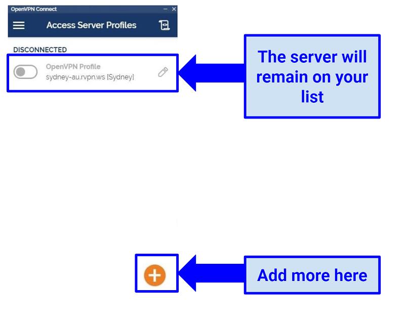 Screenshot showing OpenVPN with RusVPN servers installed