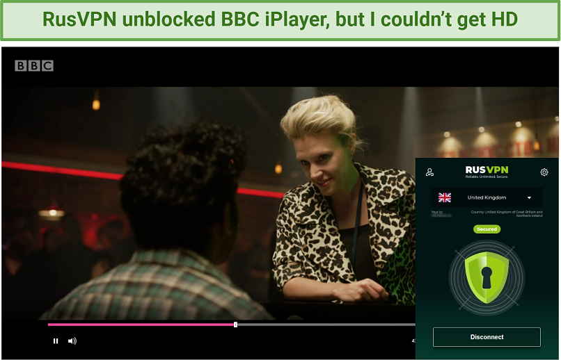 Screenshot showing BBC iPlayer unblocked after connecting to a RusVPN server in the UK