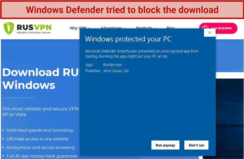 Screenshot showing Windows Defender flagging up RusVPN install file