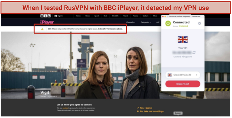 Attempting to watch BBC iPlayer with RusVPN's UK server