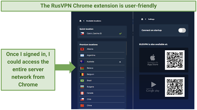 RusVPN's Chrome extension showing the full list of servers available for premium users