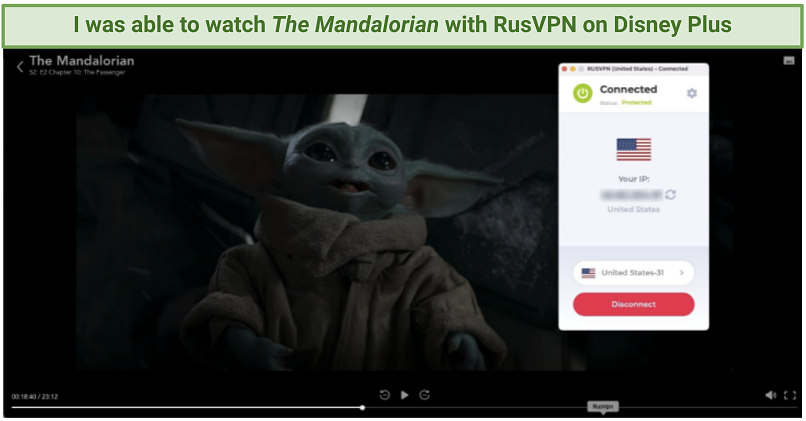 Streaming the Mandalorian on Disney Plus while connected to RusVPN's United States-31 server