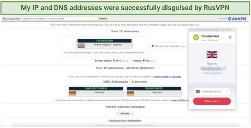 RusVPN's DNS and IP leak test results showing no leaks