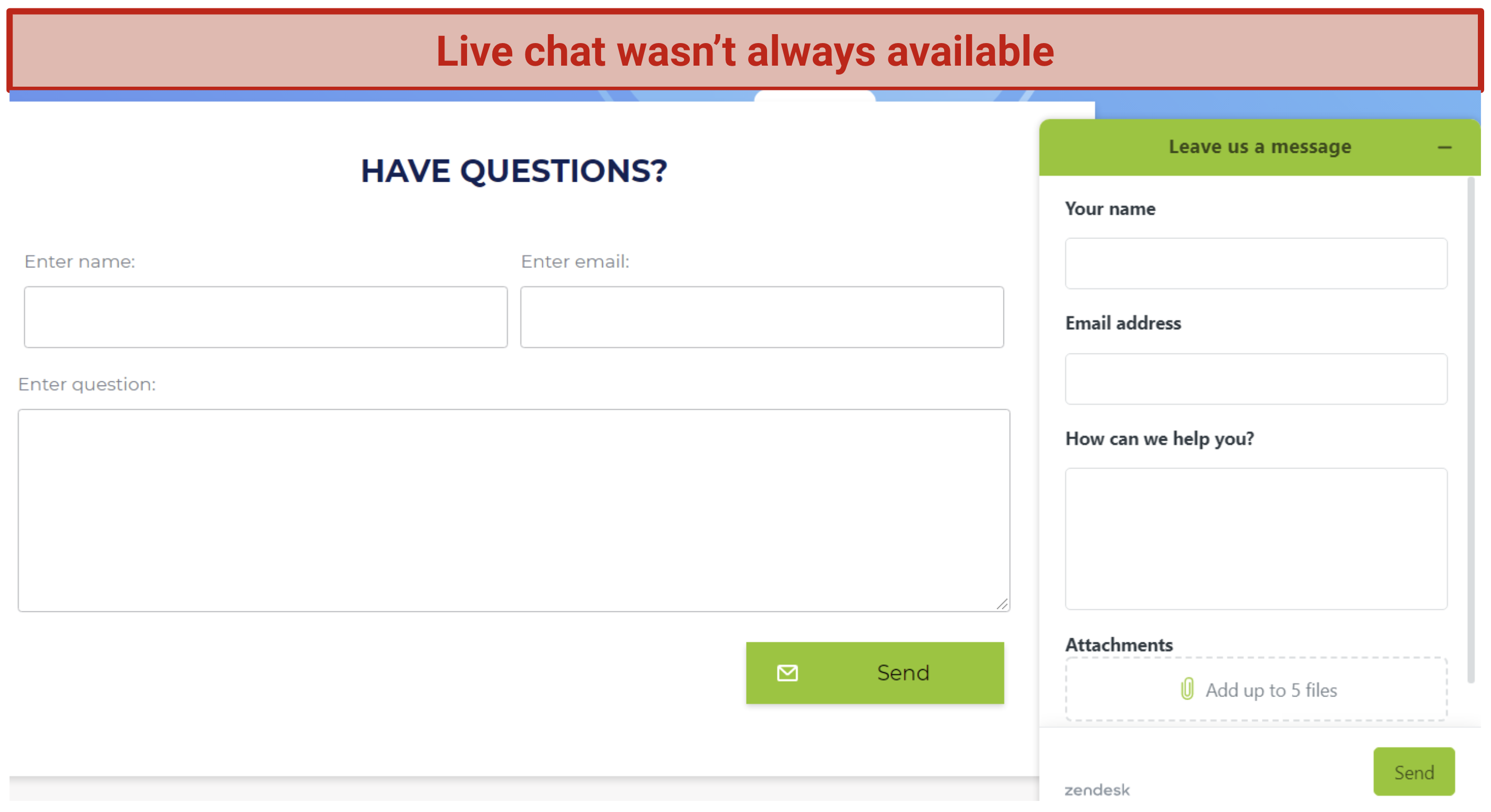 RusVPN's support options while live chat is unavailable, including a contact form