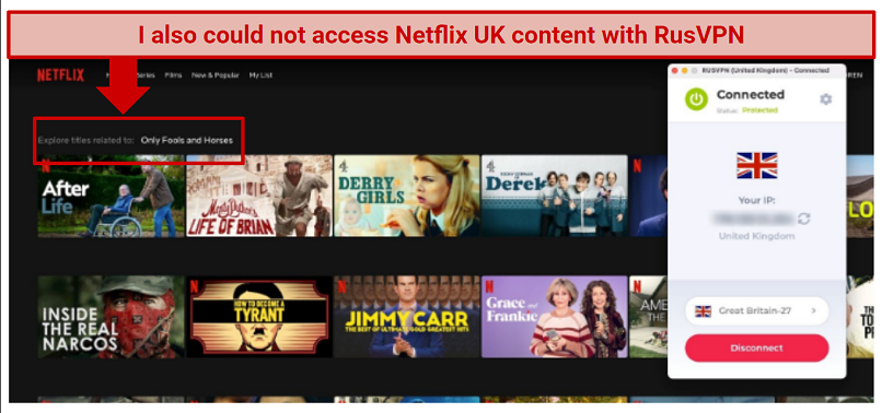 Alt text: Searching Netflix for Only Fools and Horses while connected to a RusVPN UK server