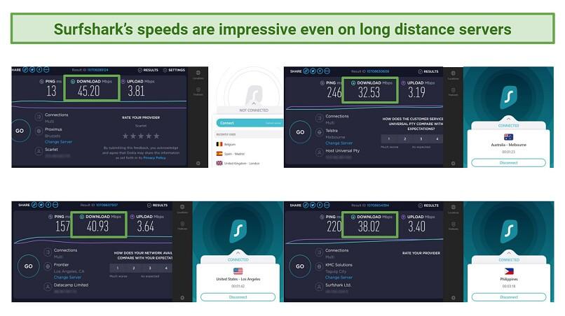 Screenshot comparing Surfshark's speeds on long distance servers