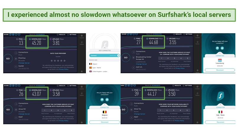 Screenshot comparing speeds on local servers using Surfshark