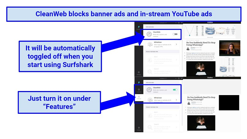 Screenshot showing Surfshark's CleanWeb feature successfully blocking ads