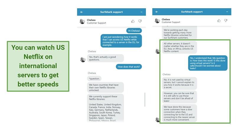 Screenshot showing Surfshark customer support explaining how US Netflix works on other regions' servers.