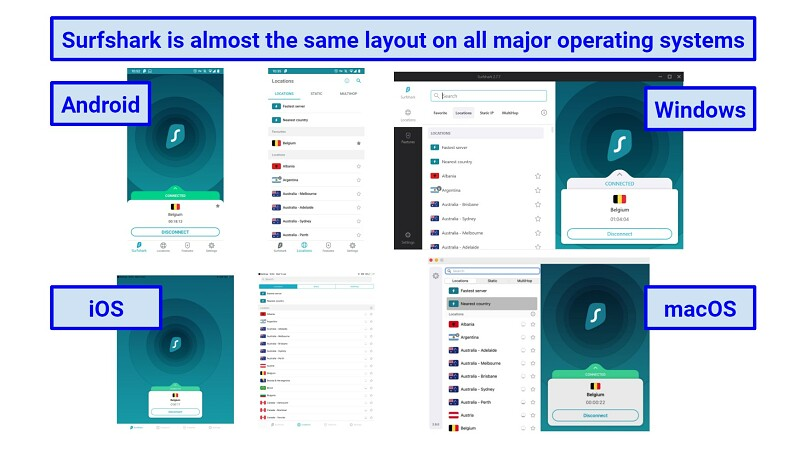 Screenshot comparing Surfshark's layout and design on Windows, Mac, Android, and iOS.