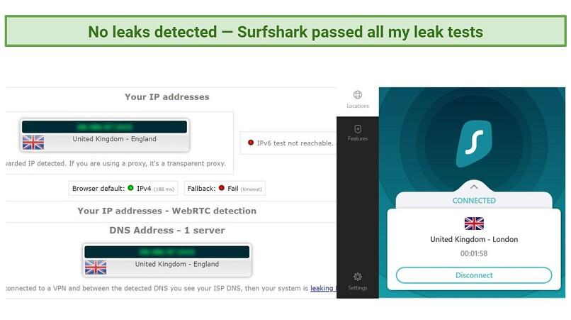 Screenshot showing Surfshark doesn't leak IP, DNS, or IPv6 data.