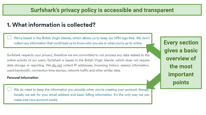 Screenshot showing how easy it is to understand Surfshark's privacy policy
