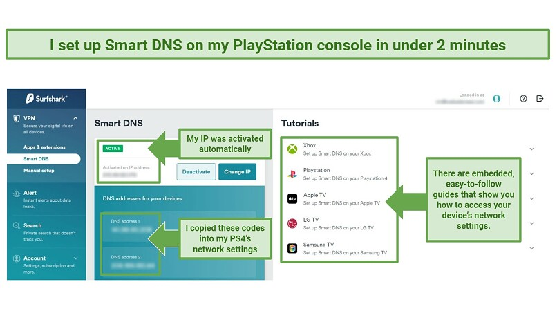 Screenshot showing Surfshark's easy Smart DNS setup