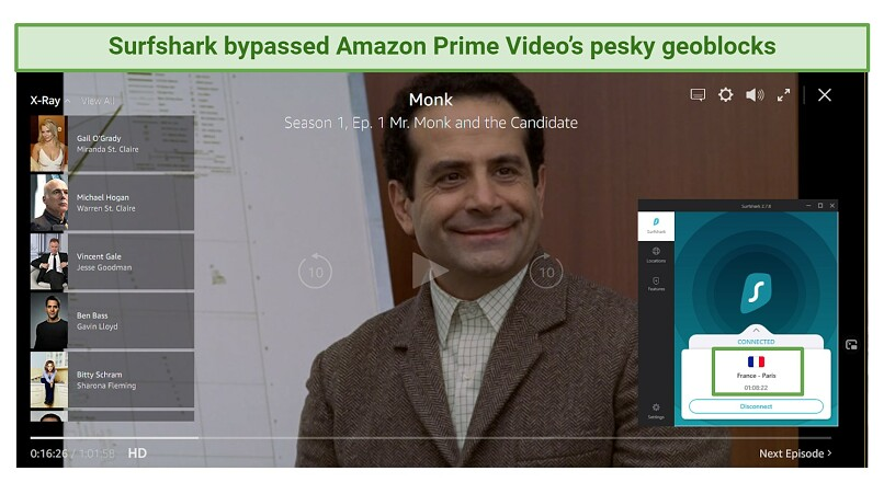 Screenshot showing Surfshark unblocking Amazon Prime Video