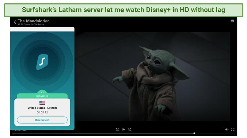 Screenshot showing Surfshark unblocks Disney+