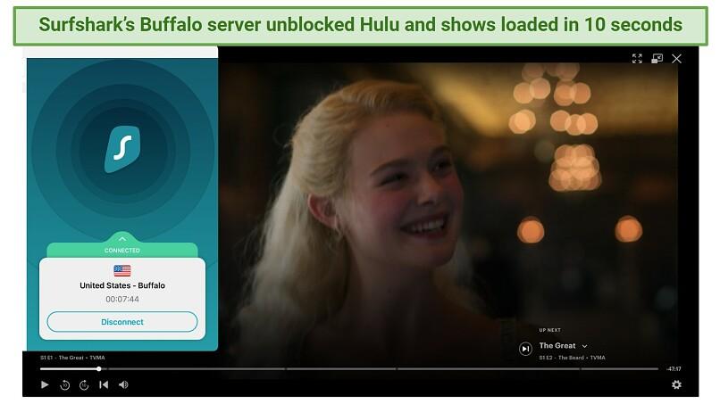 Screenshot showing Surfshark unblocking Hulu