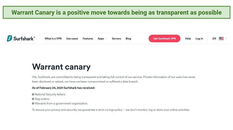 Screenshot showing Surfshark's Warrant Canary report