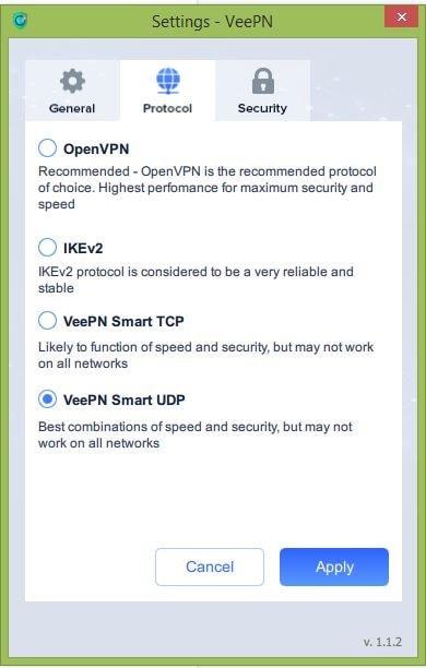 VeePN settings