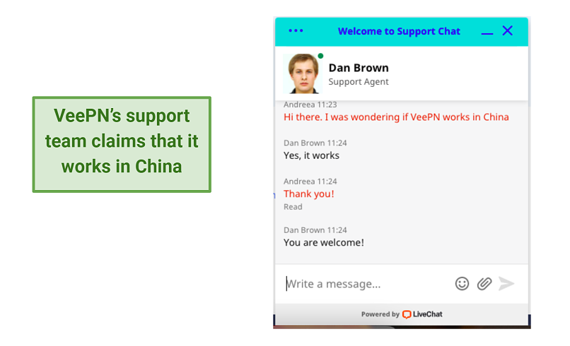 screenshot of VeePN's support chat