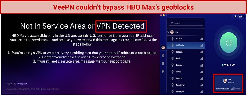 screenshot of HBO Max error message and VeePN UI