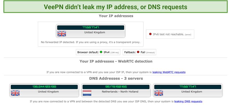 screenshot of VeePN's IP and DNS leak test