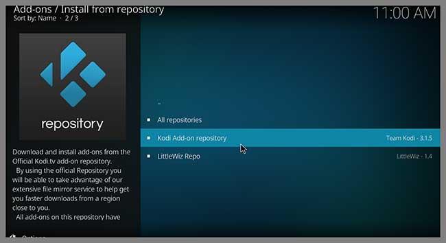 kodi add-on repository button