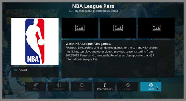 kodi nba league pass install button
