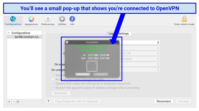 Screenshot showing Mac connected to OpenVPN using Tunnelblick
