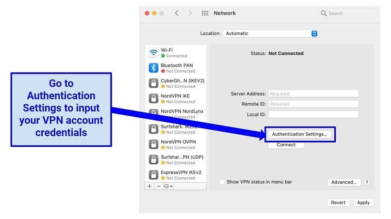 Screenshot showing how to input Mac VPN details for manual L2TP connection