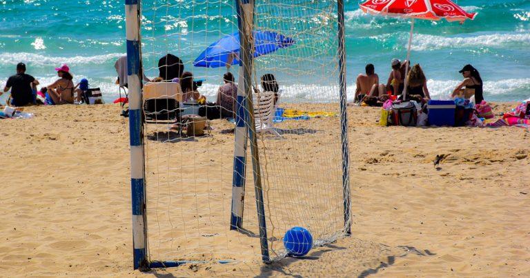 Soccer goal on beach