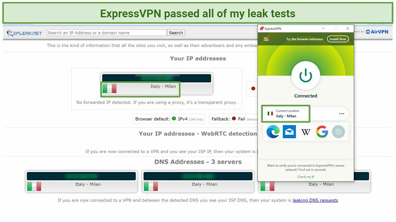 Screenshot of leak tests from IPleak.net performed while connected to ExpressVPN