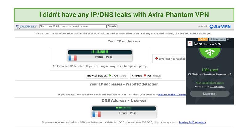 Screenshot of leak test with Avira Phantom VPN