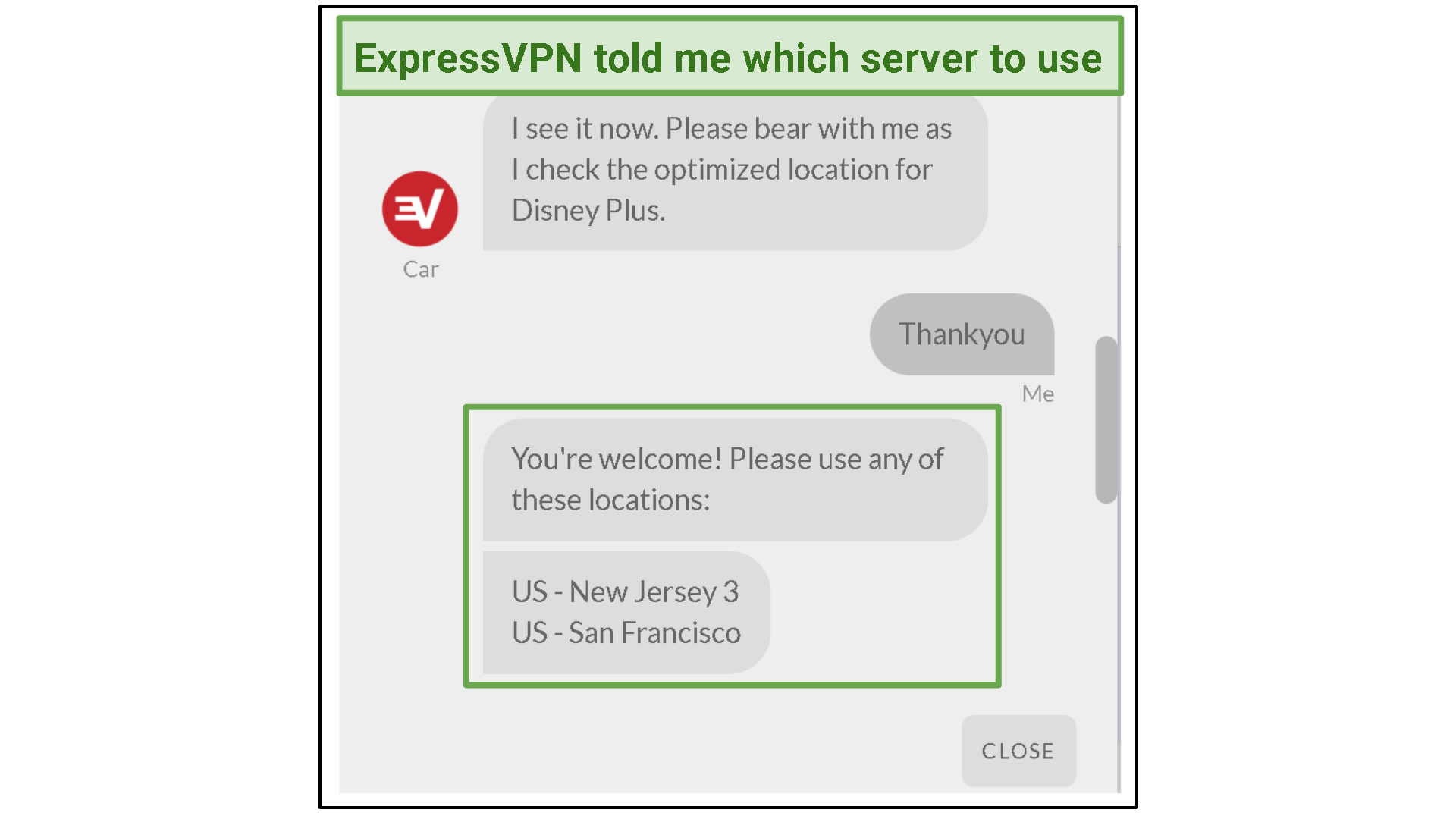A screenshot of the ExpressVPN live chat window with the representative detailing the best servers for Disney+.