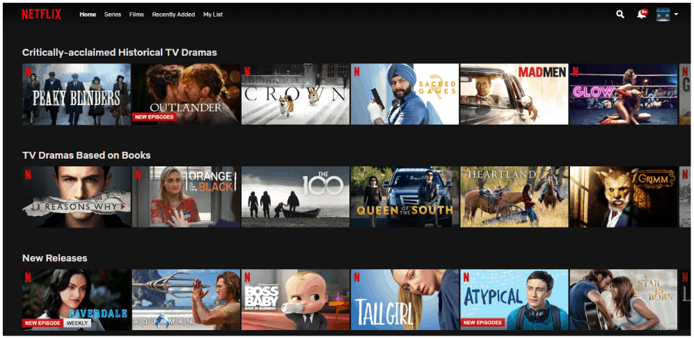 Various Netflix shows