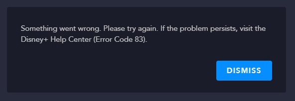 disney plus error message code 83