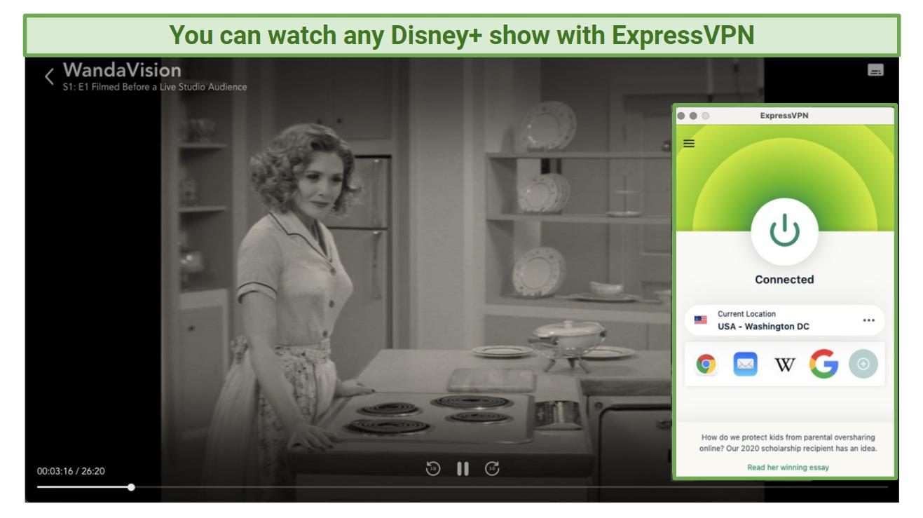 Screenshot of ExpressVPN unblocking Disney+