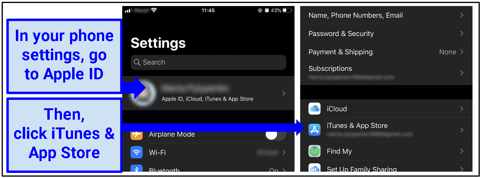 Two screenshots side-by-site of the account settings menu on iOS.