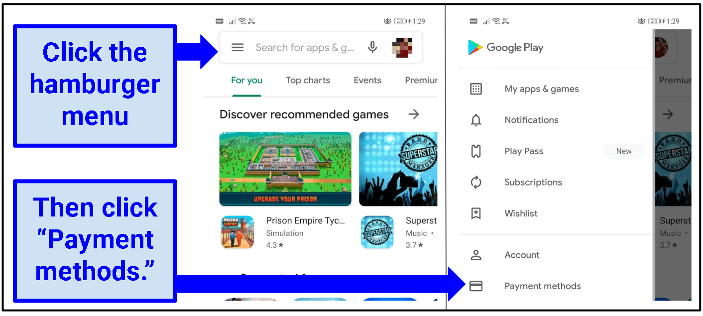 Two screenshots side-by-side: one is of the Google Play Store homepage, and the second one is of the open hamburger menu.