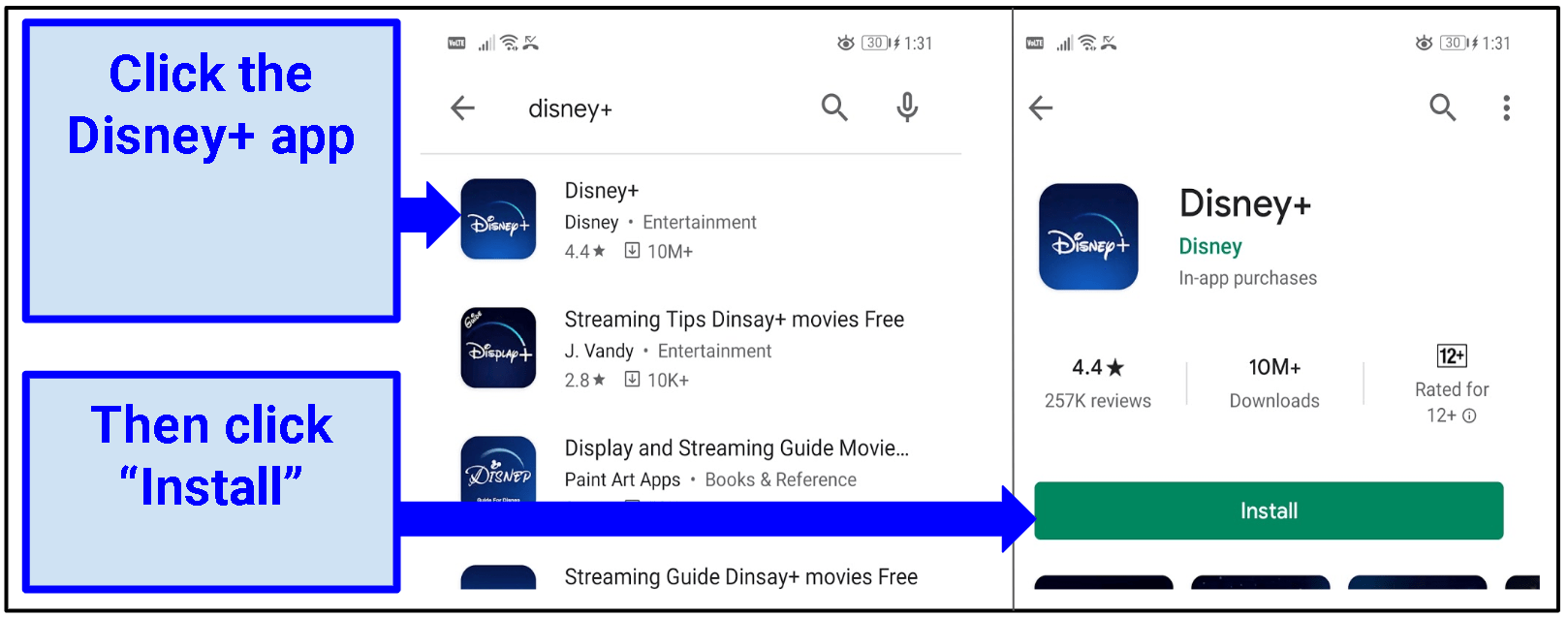 A screenshot of the Google Play Store with an arrow pointing to the Disney+ app's installation button.
