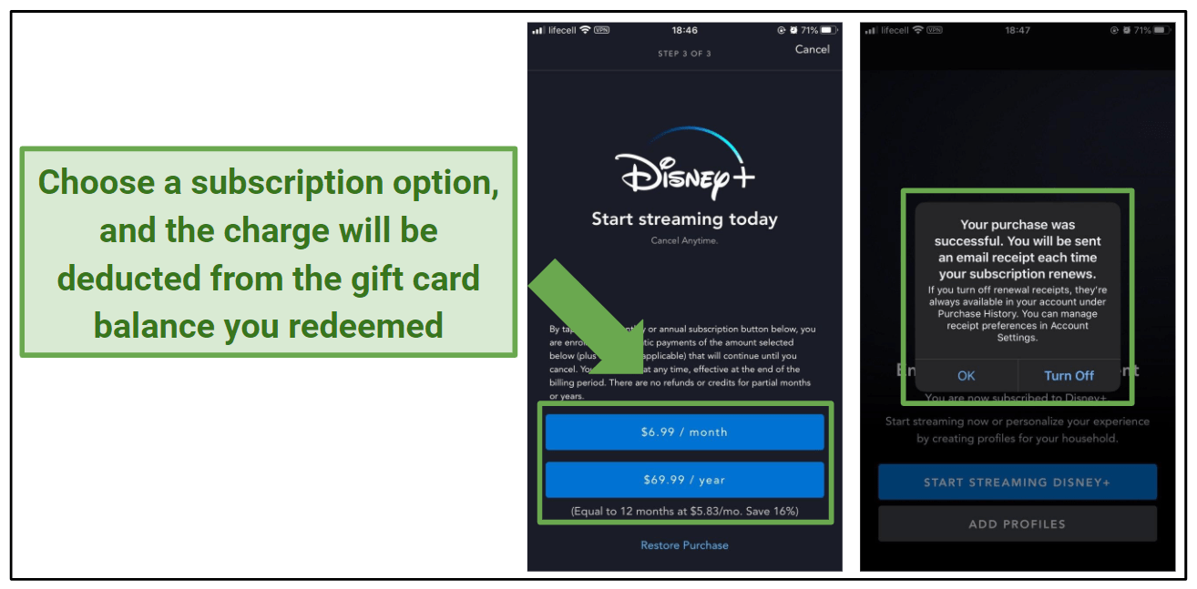 Graphic showing the purchase of a Disney+ subscription.